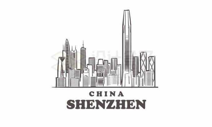 黑色线条深圳城市地标建筑手绘插画8557065矢量图片免抠素材免费下载