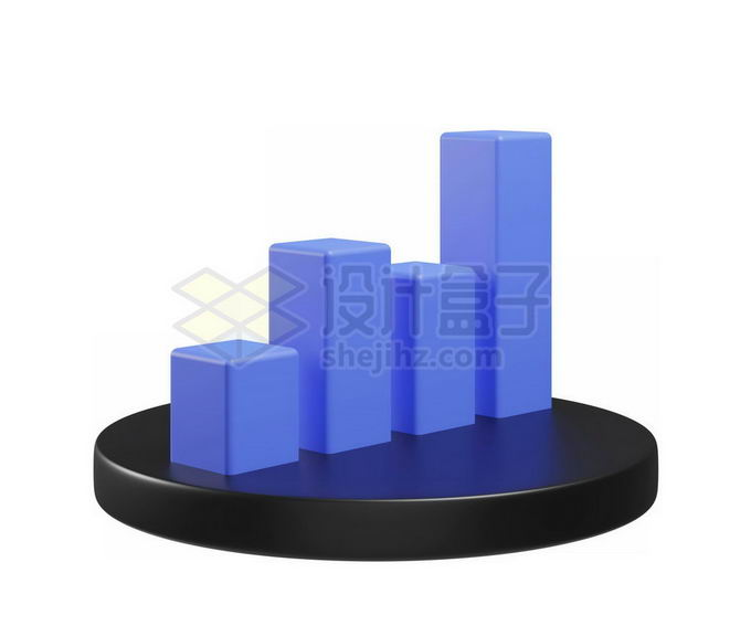 3D立体风格卡通柱形图圆形按钮模型6305862免抠图片素材 PPT元素-第1张