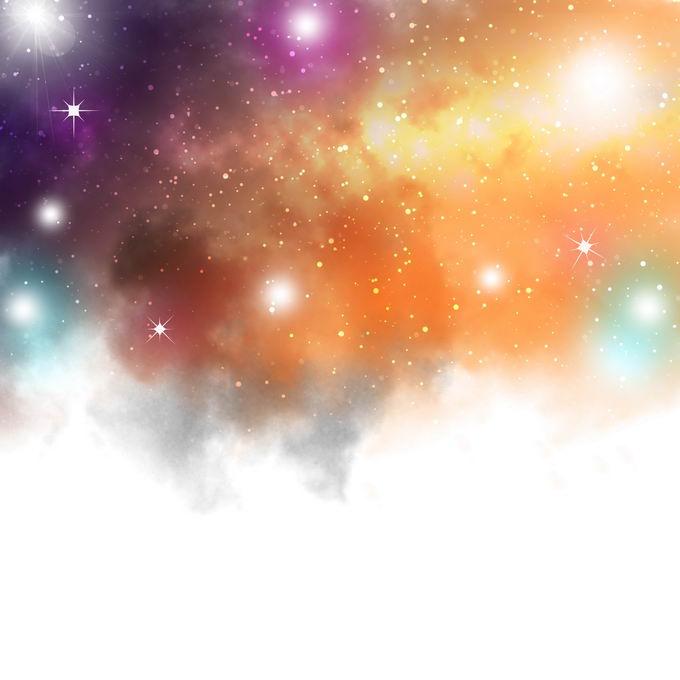 黄色紫色橙色的绚丽星云星空效果9269684图片免抠素材免费下载 效果元素-第1张