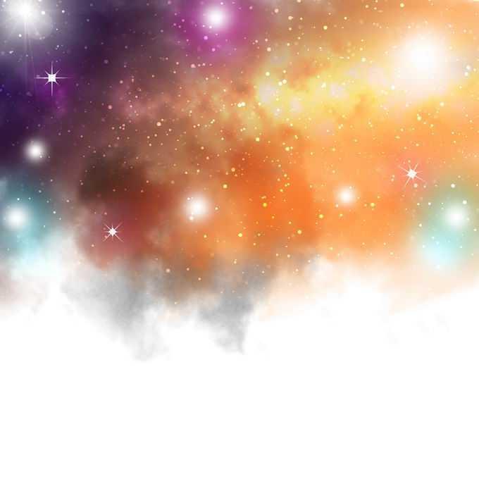 黄色紫色橙色的绚丽星云星空效果9269684图片免抠素材免费下载