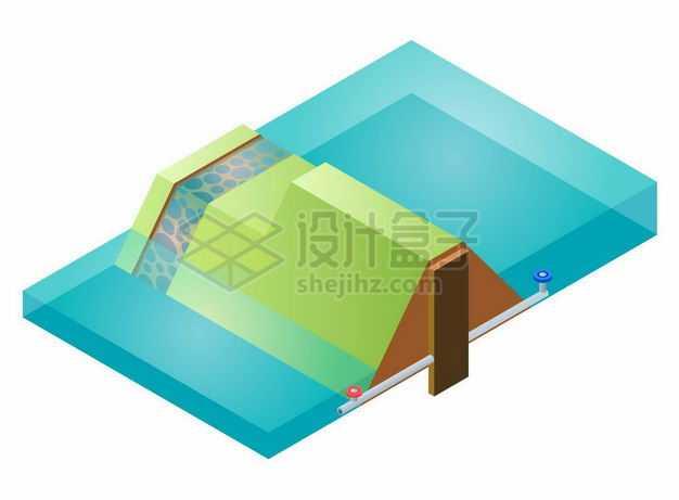 2.5D风格重力坝剖面图大坝功能结构图7235380矢量图片免抠素材