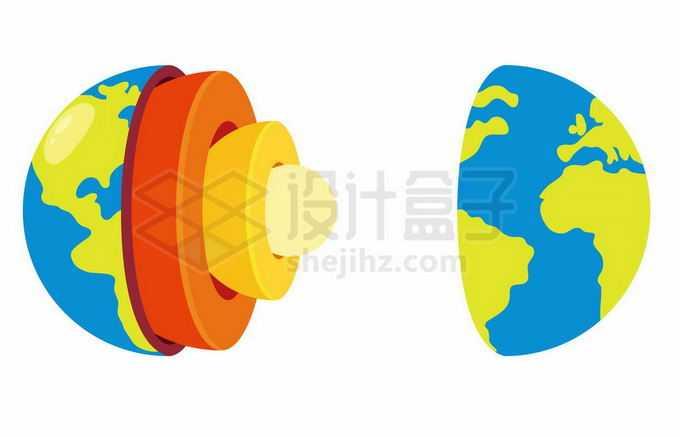 分离的地球内部结构地壳地幔地核示意图4619564矢量图片免抠素材免费下载