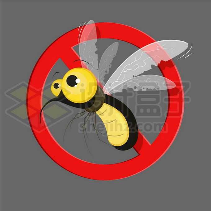 一只可爱的卡通蚊子和禁止标志6802181矢量图片免抠素材免费下载