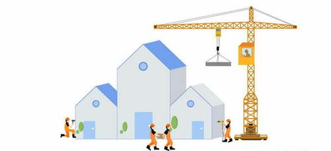 扁平化风格建筑工地上的黄色塔吊和建筑工人3916770png图片素材