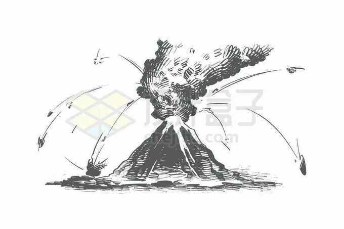剧烈的火山爆发手绘涂鸦插画8042352矢量图片免抠素材免费下载