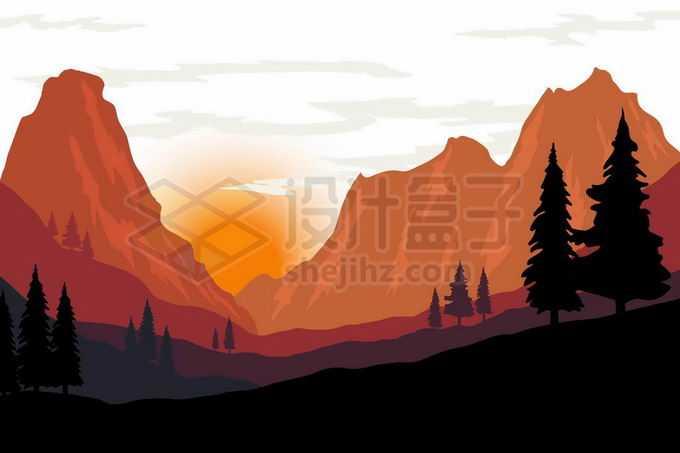 夕阳西下或者是日出的太阳照射下红色的大山远山高山山峰以及近处的森林剪影风景7047052矢量图片免抠素材免费下载