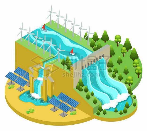 2.5D风格水力发电站和风力太阳能发电厂绿色能源1768744矢量图片免抠素材