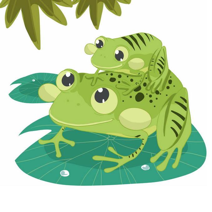 背着孩子的卡通青蛙妈妈负子蛙7408063免抠图片素材 生物自然-第1张