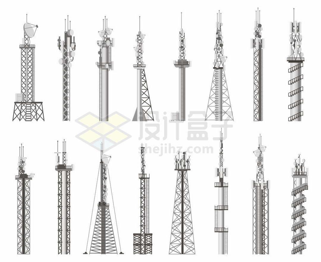 16款灰色的移动信号发射塔铁塔5284475矢量图片免抠素材