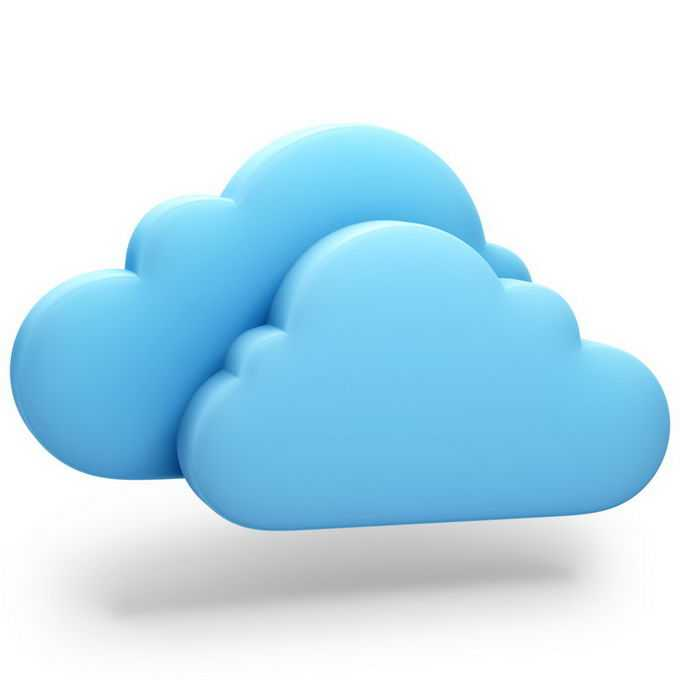 3D立体风格蓝色云朵象征了云计算技术图标6867554png图片素材