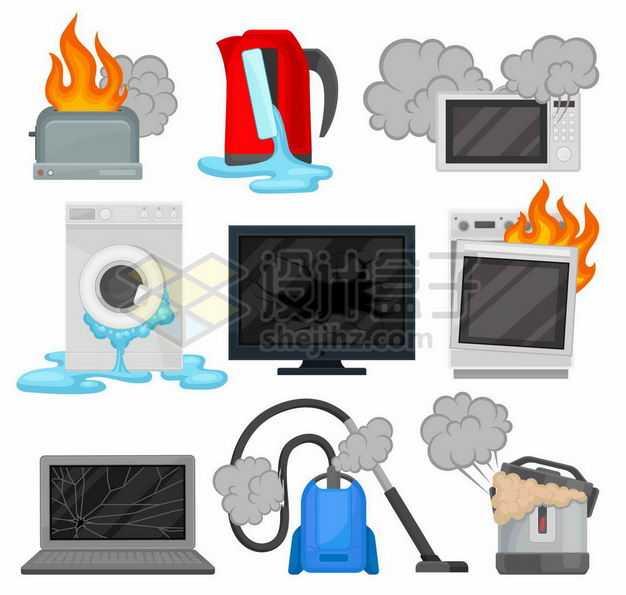 起火的面包机烤箱漏水的水壶洗衣机和冒烟的电磁炉吸尘器电饭锅等损坏的家用电器5606787矢量图片免抠素材