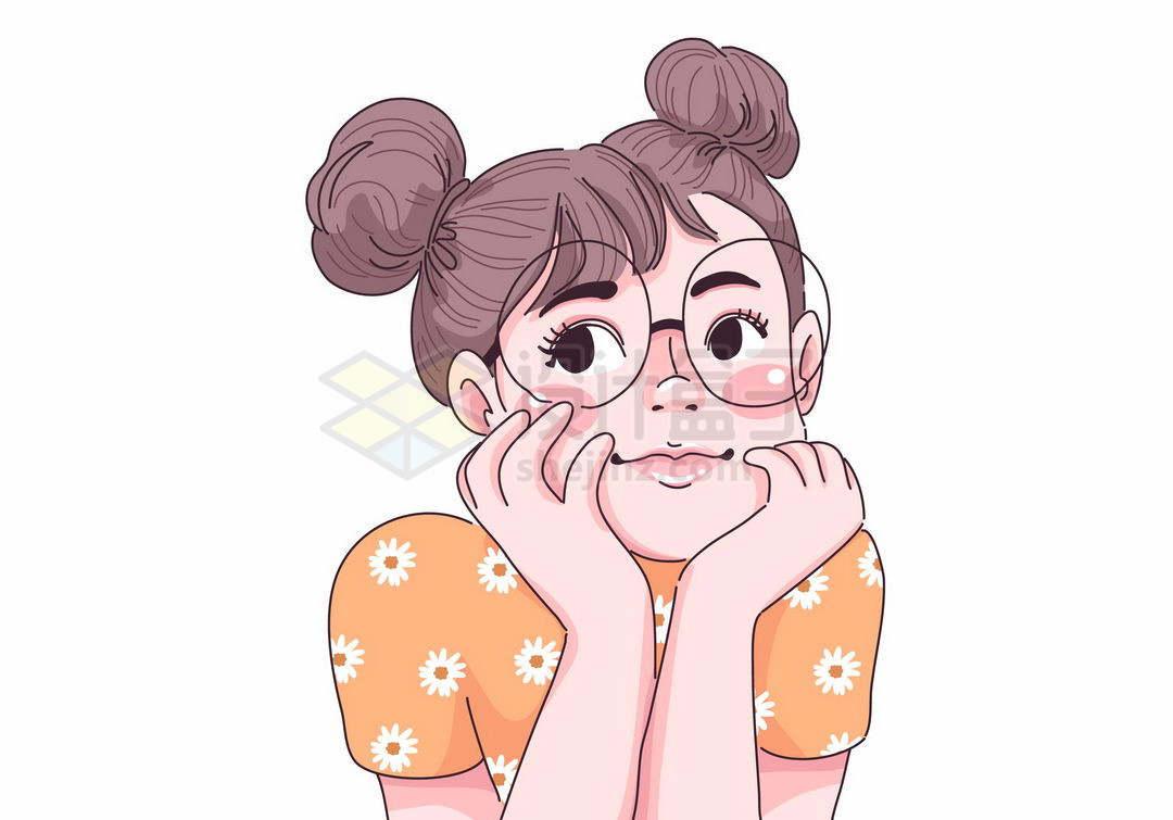 托腮的可爱丸子头眼镜女孩手绘插画6597293矢量图片免抠素材