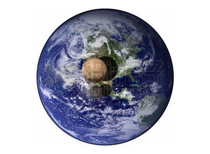 地球和冥王星及其卫星大小对比图png免抠高清图片素材 科学地理-第1张