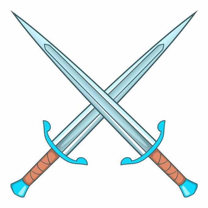 两把交叉的蓝色双剑合璧1896640矢量图片素材