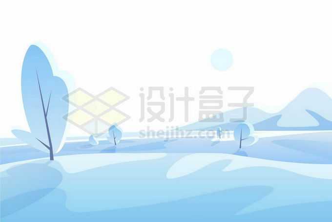 扁平化风格淡蓝色的下雪过后的雪原风景9073818矢量图片免抠素材免费下载