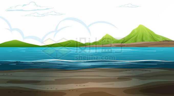 远处的青山和近处的湖泊水面风景7061403矢量图片免抠素材免费下载