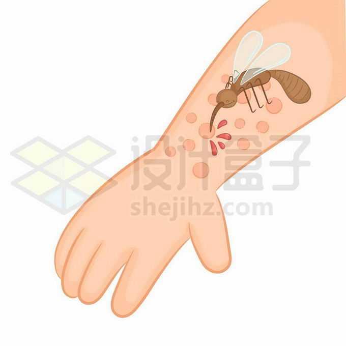 一只蚊子趴在卡通手臂上吸血6522091矢量图片免抠素材免费下载