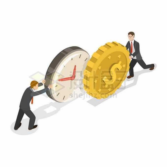 2.5D风格时间就是金钱商务人士推着时间和金钱3887039矢量图片免抠素材