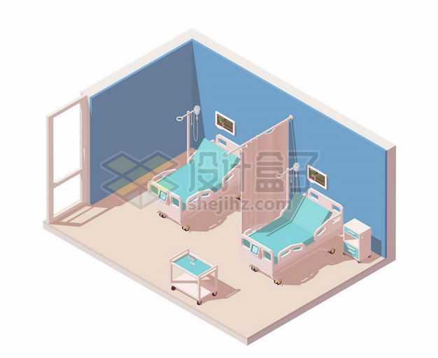 2.5D风格医院病房中的两张病床4197174矢量图片免抠素材