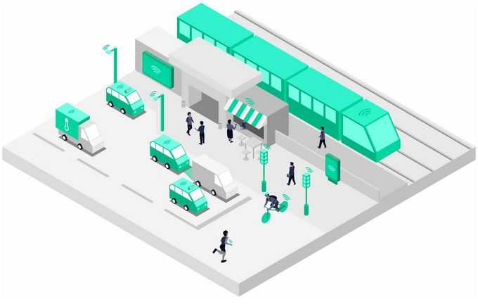 2.5D风格银灰色的城市街景地铁站模型和5G技术在公共交通方面的应用4909747png图片素材