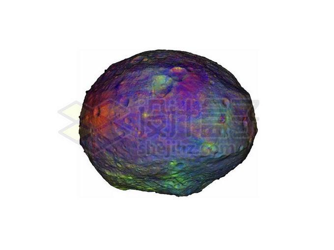 伪彩色的灶神星小行星png免抠高清图片素材 科学地理-第1张