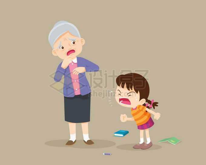 卡通小女孩生气大喊大叫吓到了奶奶7561071矢量图片免抠素材免费下载