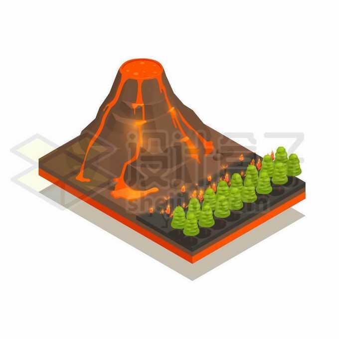 2.5D风格岩浆流淌的火山8933856矢量图片免抠素材免费下载
