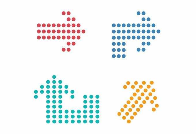 4款彩色圆点组成的方向箭头8698377矢量图片素材