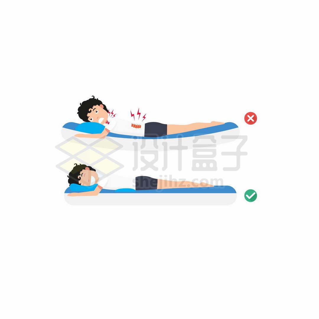 睡软床的危害和硬板床的好处正确和错误趴着睡觉的睡姿对比5107110矢量图片免抠素材