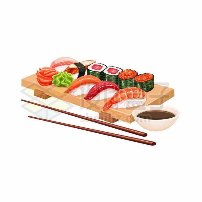 木头餐盘上的美味寿司拼盘日式美食握寿司卷寿司军舰寿司姿寿司7225369矢量图片免抠素材