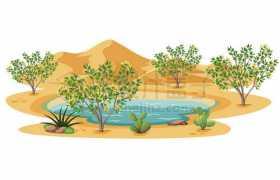 沙漠中的绿洲和水塘沙棘沙漠植物卡通风景图5613879矢量图片免抠素材免费下载