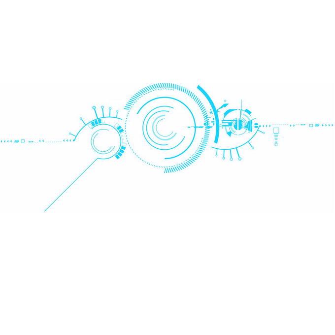 蓝色线条短线组成的科技风格电路装饰图案1190968图片免抠素材免费下载 线条形状-第1张