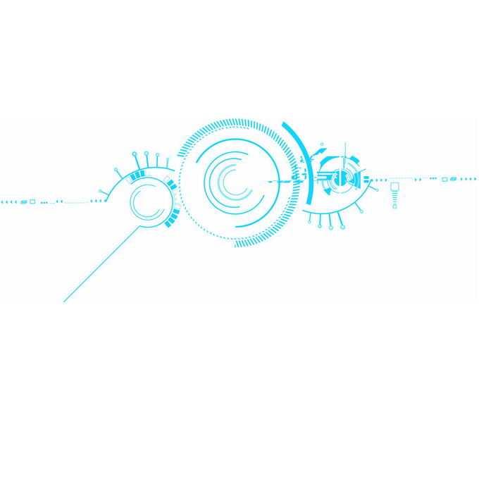 蓝色线条短线组成的科技风格电路装饰图案1190968图片免抠素材免费下载