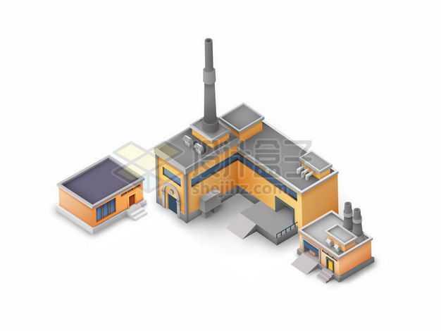 2.5D风格橙色工厂厂房建筑1883372矢量图片免抠素材