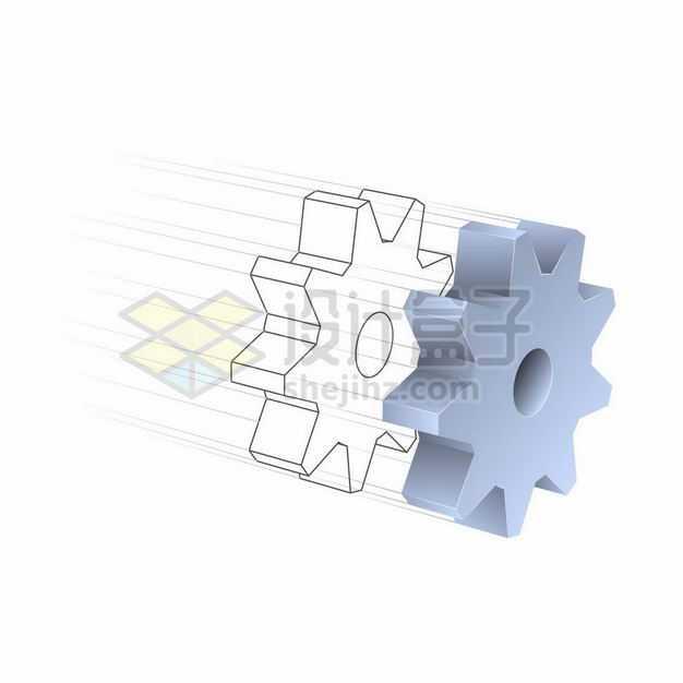 3D立体风格灰色的齿轮和线条齿轮机械装置1047032矢量图片免抠素材
