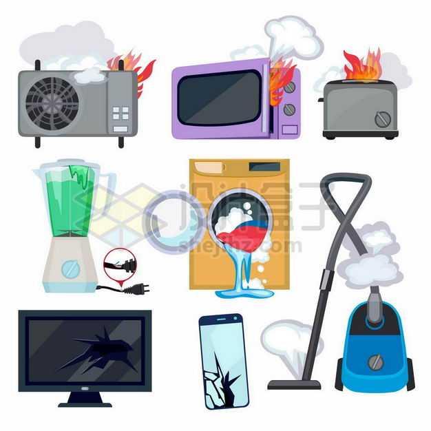 起火的空调机微波炉面包机损坏的榨汁机洗衣机电视机手机和吸尘器6353111矢量图片免抠素材