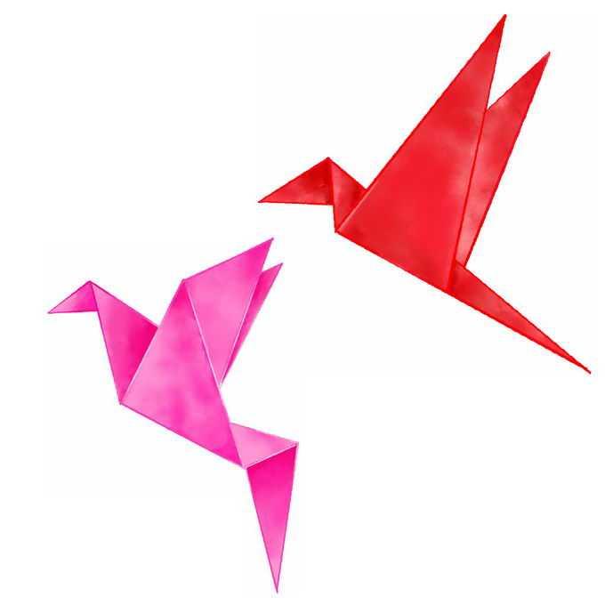 2个红色和粉色的千纸鹤水彩画插画7506900免抠图片素材