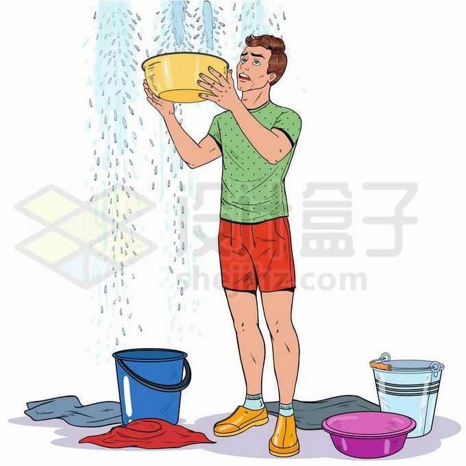 屋顶漏水正在拿着盆子水桶接水的男人9093469矢量图片免抠素材免费下载