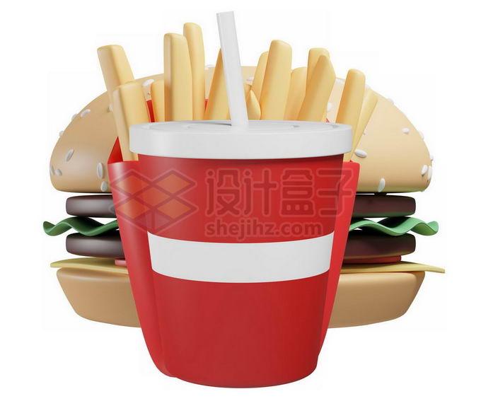 3D立体风格卡通汉堡薯条和可乐快餐模型2764717免抠图片素材 生活素材-第1张