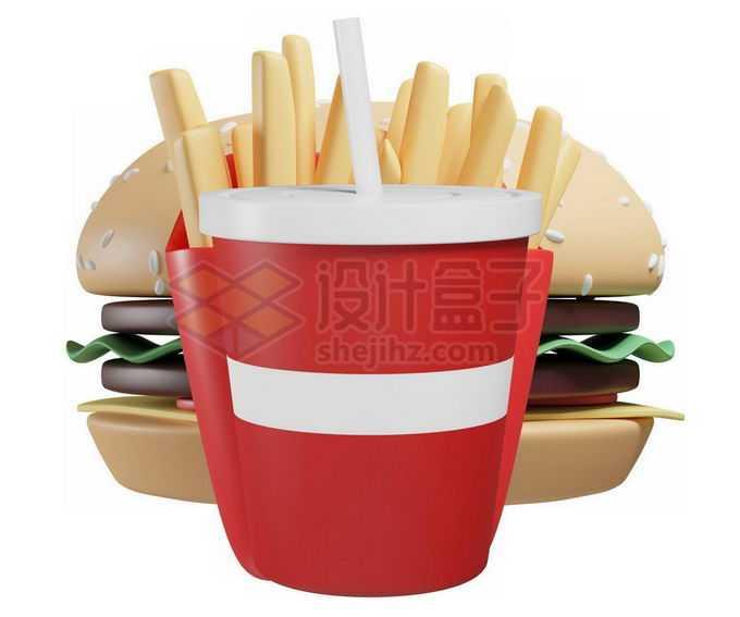3D立体风格卡通汉堡薯条和可乐快餐模型2764717免抠图片素材
