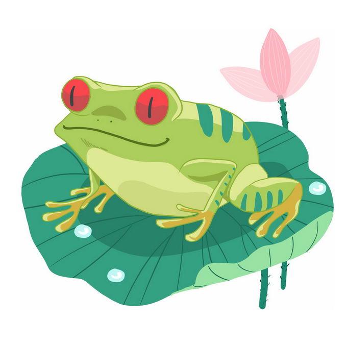 红眼睛的卡通青蛙趴在荷叶上7106547免抠图片素材 生物自然-第1张