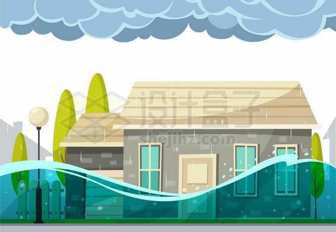 乌云密布下的淹没在洪水中的房屋5399777矢量图片免抠素材免费下载