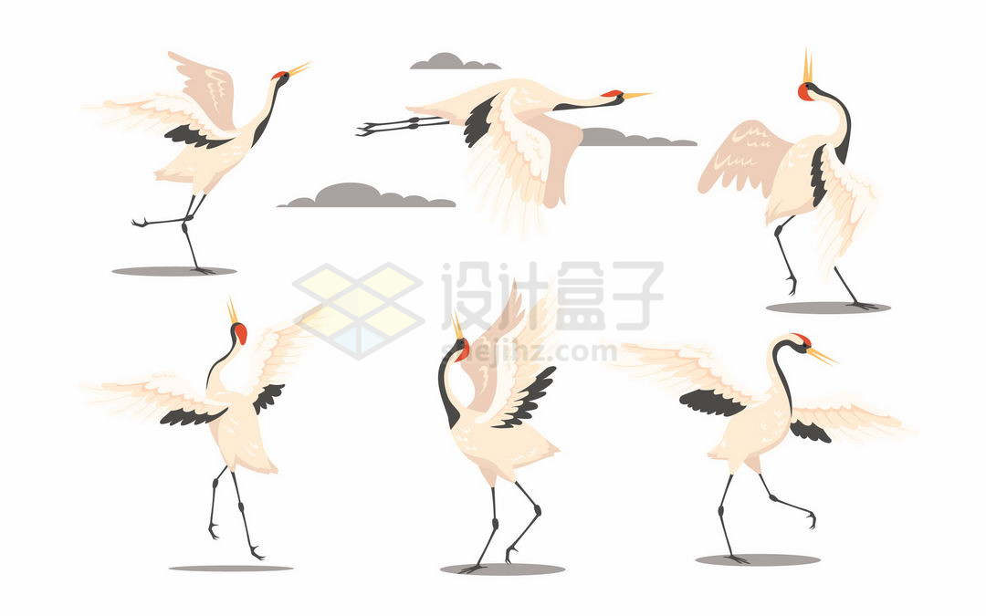 各种仙鹤野生动物插画2876812矢量图片免抠素材