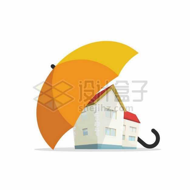 黄色雨伞下面的房子象征了房产保险业务1657330矢量图片免抠素材