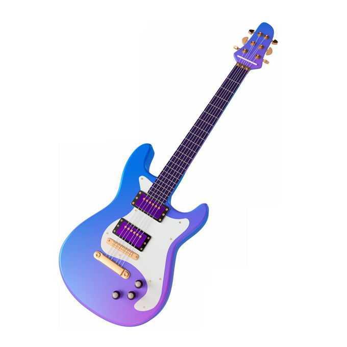 一把蓝紫色渐变色的电吉他弹拨乐器西洋乐器7639790图片免抠素材免费下载