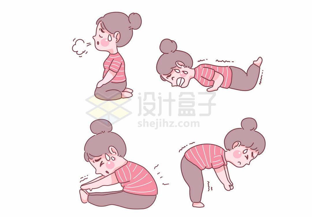 4款正在挥汗如雨健身锻炼身体瑜伽拉伸动作的卡通女孩手绘插画4672207矢量图片免抠素材