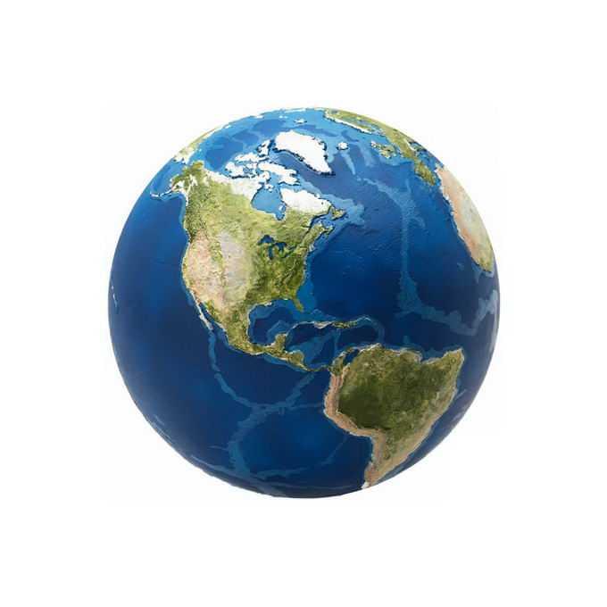 高清地球定位在南北美洲大陆以及大洋深处的板块裂缝png免抠图片素材