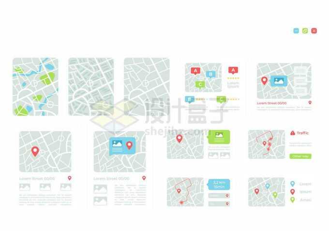 各种规格的扁平化风格地图APP界面ui设计风格3412769矢量图片免抠素材免费下载