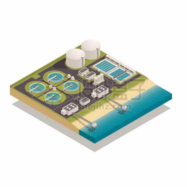 2.5D风格海边的海水淡化工厂自来水厂水处理厂8450133矢量图片免抠素材