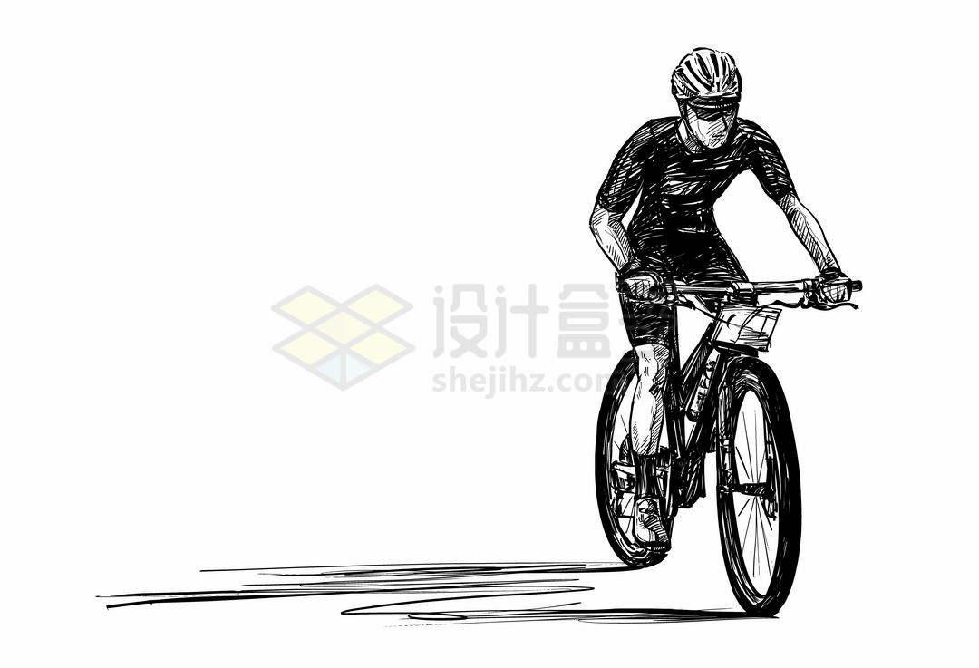 一名骑手正在骑自行车正面手绘线条素描速写插画1405853矢量图片免抠素材